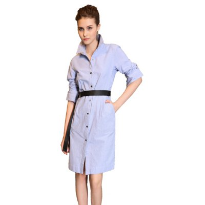 Long Sleeved Casual Fashion Collar Cardigan Dress