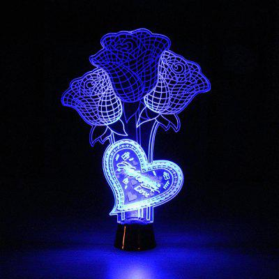 Color Changing 3D Rose Flower Night Light Home Decorative Desk Lamp Creative Gifts