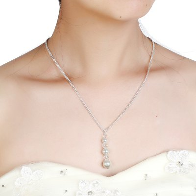 Fashion Wedding Long Pearl Studded Back Chain Necklace