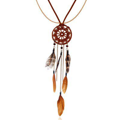 Bohemian Feather Necklace with Long Necklace