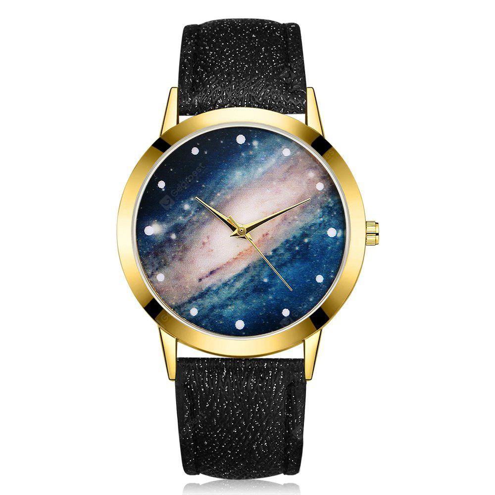 GAIETY G374 Women Leather Strap Starry Sky Face Quartz Watch