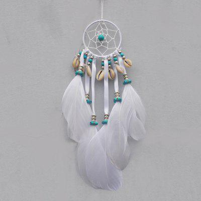 Indian White Dream Catcher Wall Hanging Decoration Circular Feathers Dreamcatcher Ornament Gift