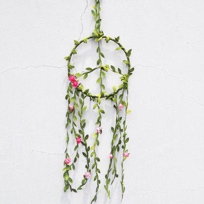 Handmde Peace Label Dreamcather Wicker Weaving with Rose Flower Wall Hanging Room Car Decoration