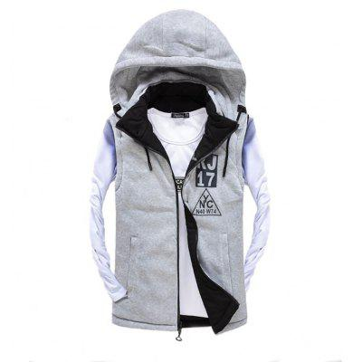 Men's Vest Jacket High Quality Detachable Hat All Match Zipper Jacket