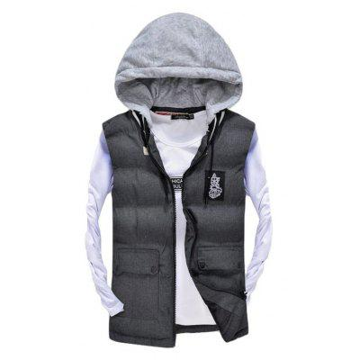 Men's Vest Jacket High Quality Detachable Hat Warm Stylish Zipper Jacket