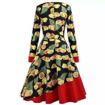 2018 New Yellow Fruit Print DressesWomens Dresses<br>2018 New Yellow Fruit Print Dresses<br><br>Dresses Length: Mid-Calf<br>Elasticity: Micro-elastic<br>Embellishment: Vintage<br>Fabric Type: Broadcloth<br>Material: Cotton<br>Neckline: Round Collar<br>Package Contents: 1 x Dress<br>Pattern Type: Print<br>Season: Spring, Winter, Fall, Summer<br>Silhouette: A-Line<br>Sleeve Length: Long Sleeves<br>Sleeve Type: One-Shoulder<br>Style: Vintage<br>Waist: Natural<br>Weight: 0.5000kg<br>With Belt: No