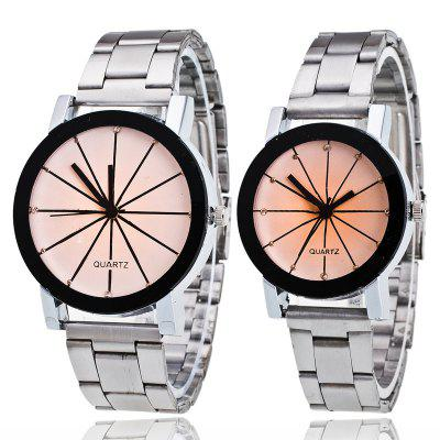 REEBONZ 2 Pcs Couple Steel Sun Ray Couple Watch