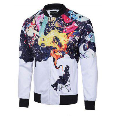 Plus Size Fashion and Leisure 3D Digital Print Personality Trend Jacket