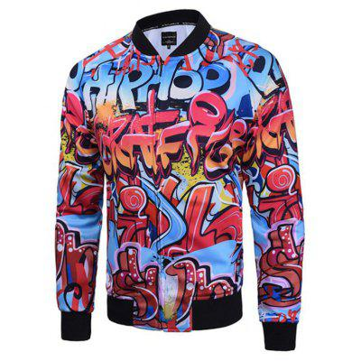 Hip-Hop Men'S Casual Retro Printed Baseball Jacket Plus Size