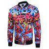 Hip-Hop Men'S Casual Retro Printed Baseball Jacket Plus Size - BLUE