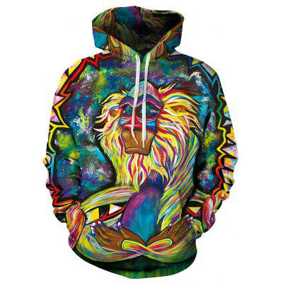 Felpa da uomo Felpe con cappuccio Digital Print Colorful Monkey Hoody Tops