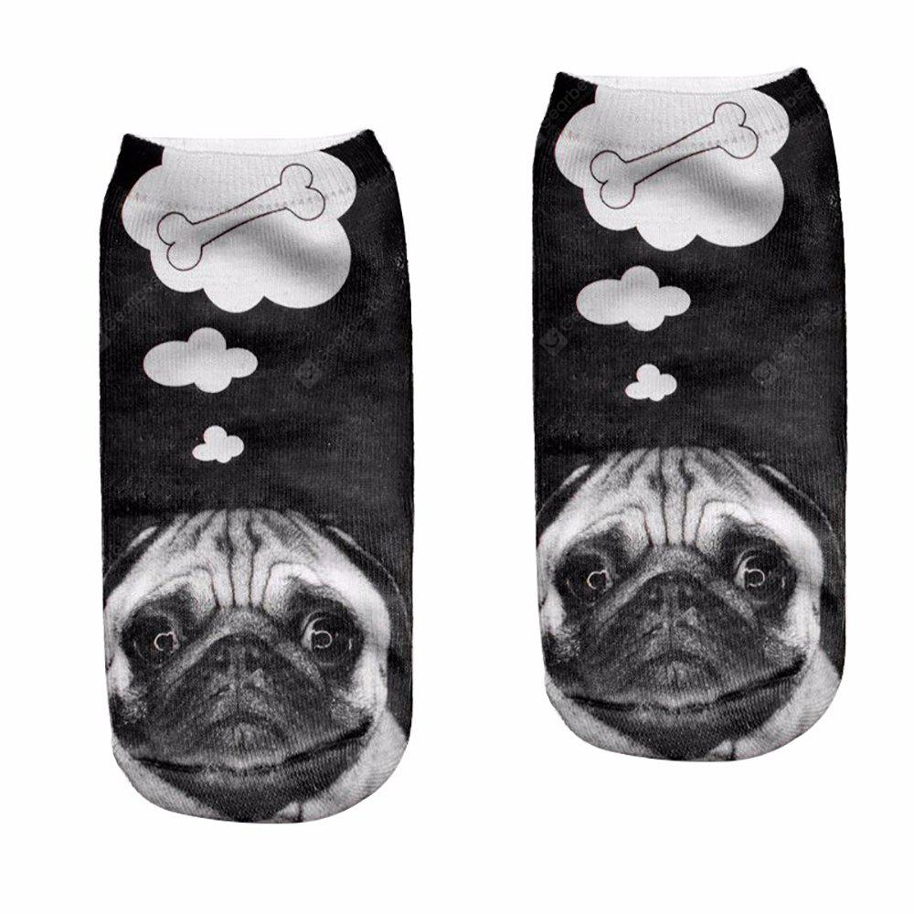 BLACK 3D Lovely Dog Pugs Printed Sock WoMen New Unisex Cute Low Cut Ankle Sock S008