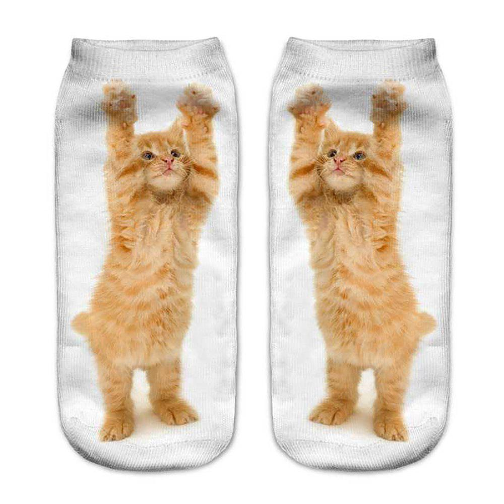 MIXCOLOR 3D Printed Small Cat Women'S Unisex Low Cut Ankle Socks S016