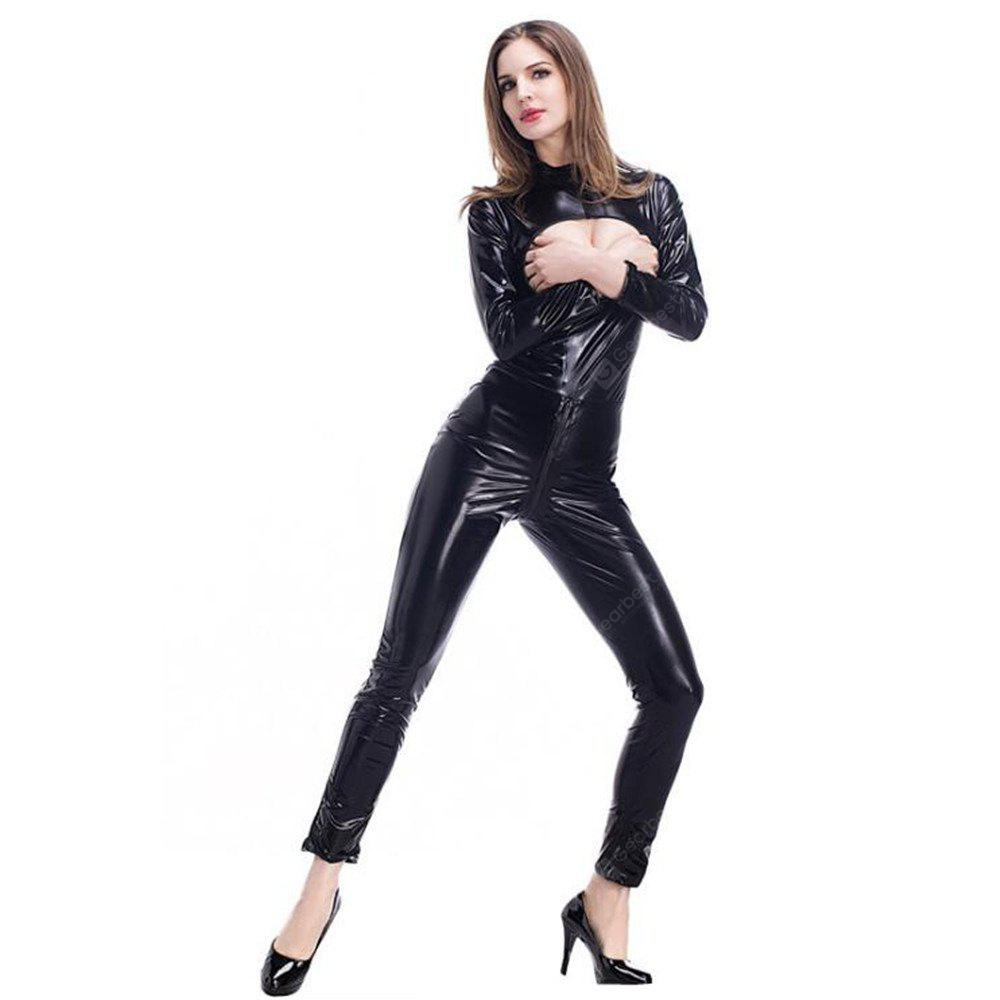 Women's Cupless Leather Faux Catsuit Cosplay DS Playsuit Jumpsuit