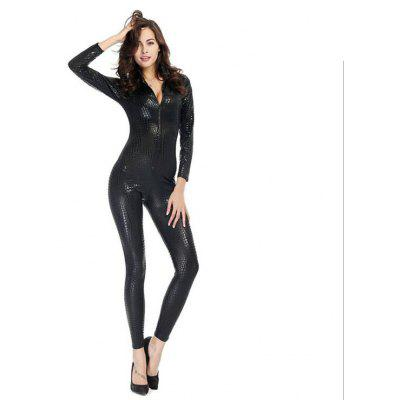 Women's Snake Faux Leather Catsuit Zipper Bodysuit