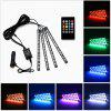 Multi-color Car Interior Music LED Strap Light Underdash Lighting Kit with Sound Active Function and Remote Control - BLACK