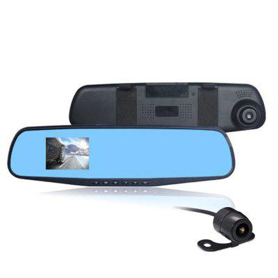 1080P HD Car DVR Vehicle Reaview Mirror Dual Channel Recorder Blue LCD Driving Recorder Wide Angle Dash Cam