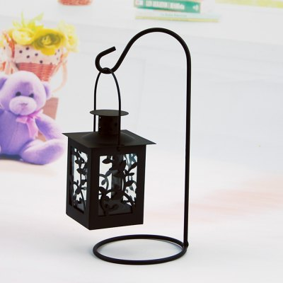 Flower Horse Time European Iron Glass Candlestick Wind Lamp Romantic Wedding Valentine'S Day Gift Home Decoration Candle