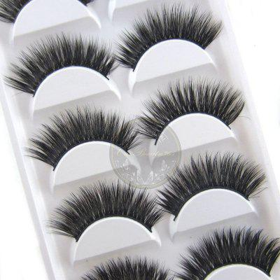 2017 Novos 10pcs / 5 pares de luxuosos 3D cílios falsos Cross Natural Long Eye Lashes Maquiagem