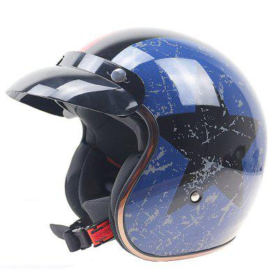 Paclight Retro Helmet Helmet with Visor with Built-In 3/4 Harley Motorcycle Helmet Sunglasses DOT