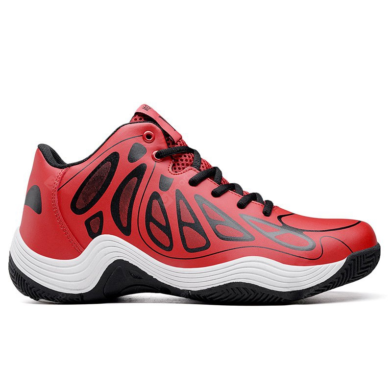 New Men'S Red Leather Casual Sports Shoes