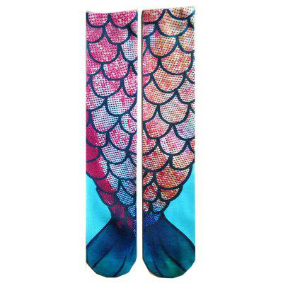 Buy BLUE AND RED 3D Dreen Mermaid Prints Knee Socks for $10.35 in GearBest store