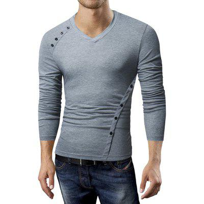 New MenS Casual Long-Sleeved T-Shirt Fashion Oblique Button Design Base ShirtMens T-shirts<br>New MenS Casual Long-Sleeved T-Shirt Fashion Oblique Button Design Base Shirt<br><br>Collar: V-Neck<br>Material: Cotton, Cotton Blends<br>Package Contents: 1xT-shirt<br>Pattern Type: Solid<br>Sleeve Length: Full<br>Style: Casual<br>T-shirt: None<br>Weight: 0.2800kg