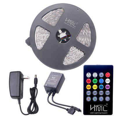 HML 5M 72W 5050 RGB LED Strip Light with 20 Keys Music Remote Control And US Adapter