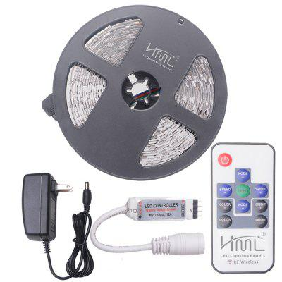 HML 5M 72W 5050 RGB LED Strip Light with 10 Keys RF Remote Control And US Adapter