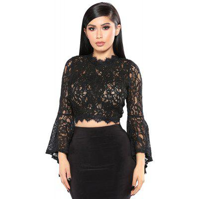 Embroidered Lace Women'S Wear Short - Horn Long Sleeve Hollow T-Shirt