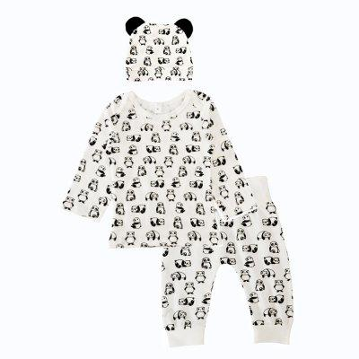 SOSOCOER Baby Clothes Set Cartoon Panda Printed Hat T-Shirt Pants Tre pezzi