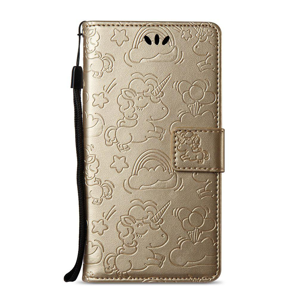 Case Cover for Huawei Y5 2017 Double Sides Embossed Clouds Leather Shell with Wallet