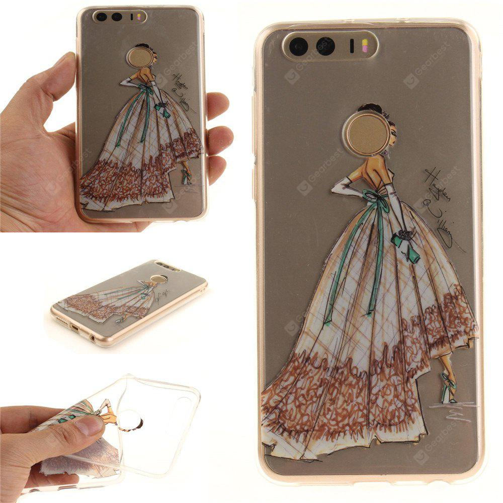 Cover Case per Huawei Honor 8 Vestito dipinto a mano Soft Clear IMD TPU Phone Caring Mobile Smartphone