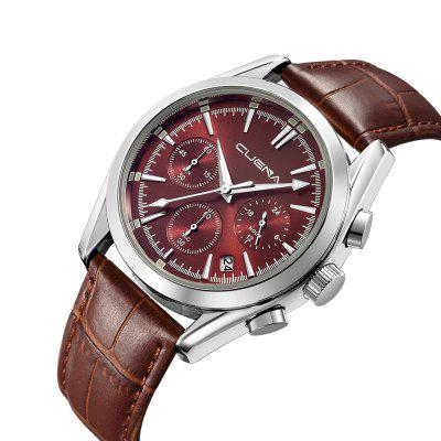 CUENA 6620P Fashion Casual Leather Wrist Watch for MenMens Watches<br>CUENA 6620P Fashion Casual Leather Wrist Watch for Men<br><br>Band material: Genuine Leather<br>Band size: 25.5 x 2cm<br>Brand: CUENA<br>Case material: Alloy<br>Clasp type: Pin buckle<br>Dial size: 4 x 4 x 1.3cm<br>Display type: Analog<br>Movement type: Quartz watch<br>Package Contents: 1 x Watch, 1 x Box<br>Package size (L x W x H): 14.00 x 8.00 x 3.00 cm / 5.51 x 3.15 x 1.18 inches<br>Package weight: 0.1200 kg<br>Product size (L x W x H): 25.50 x 4.00 x 1.30 cm / 10.04 x 1.57 x 0.51 inches<br>Product weight: 0.0600 kg<br>Shape of the dial: Round<br>Special features: Working sub-dial, Stopwatch, IP plating, Day, Light<br>Watch mirror: Mineral glass<br>Watch style: Casual, Trends in outdoor sports, Retro, Business, Fashion, Cool<br>Watches categories: Men,Male table<br>Water resistance: 30 meters<br>Wearable length: 16.5 - 23.5cm