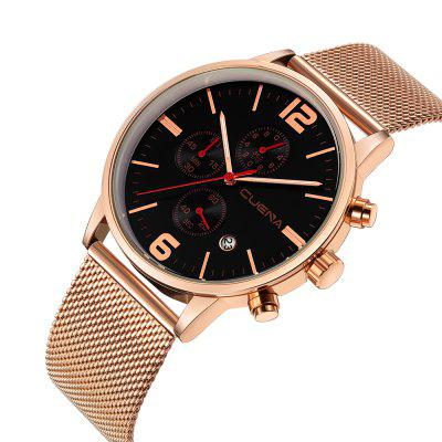 CUENA 6817G Fashion Casual Stainless Steel Grid Wrist Watch for MenMens Watches<br>CUENA 6817G Fashion Casual Stainless Steel Grid Wrist Watch for Men<br><br>Band material: Stainless Steel<br>Band size: 25 x 2.2cm<br>Brand: CUENA<br>Case material: Alloy<br>Clasp type: Hook buckle<br>Dial size: 4.3 x 4.3 x 1.05cm<br>Display type: Analog<br>Movement type: Quartz watch<br>Package Contents: 1 x Watch, 1 x Box<br>Package size (L x W x H): 14.00 x 8.00 x 3.00 cm / 5.51 x 3.15 x 1.18 inches<br>Package weight: 0.1470 kg<br>Product size (L x W x H): 25.00 x 4.30 x 1.05 cm / 9.84 x 1.69 x 0.41 inches<br>Product weight: 0.0870 kg<br>Shape of the dial: Round<br>Special features: Working sub-dial, Stopwatch, IP plating, Day, Light<br>Watch mirror: Mineral glass<br>Watch style: Casual, Trends in outdoor sports, Retro, Business, Fashion, Cool<br>Watches categories: Men,Male table<br>Water resistance: 30 meters<br>Wearable length: 10 - 25cm