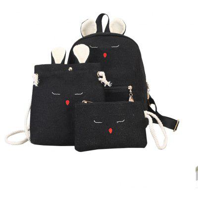Three Pieces Cute Solid Color Simple Backpack