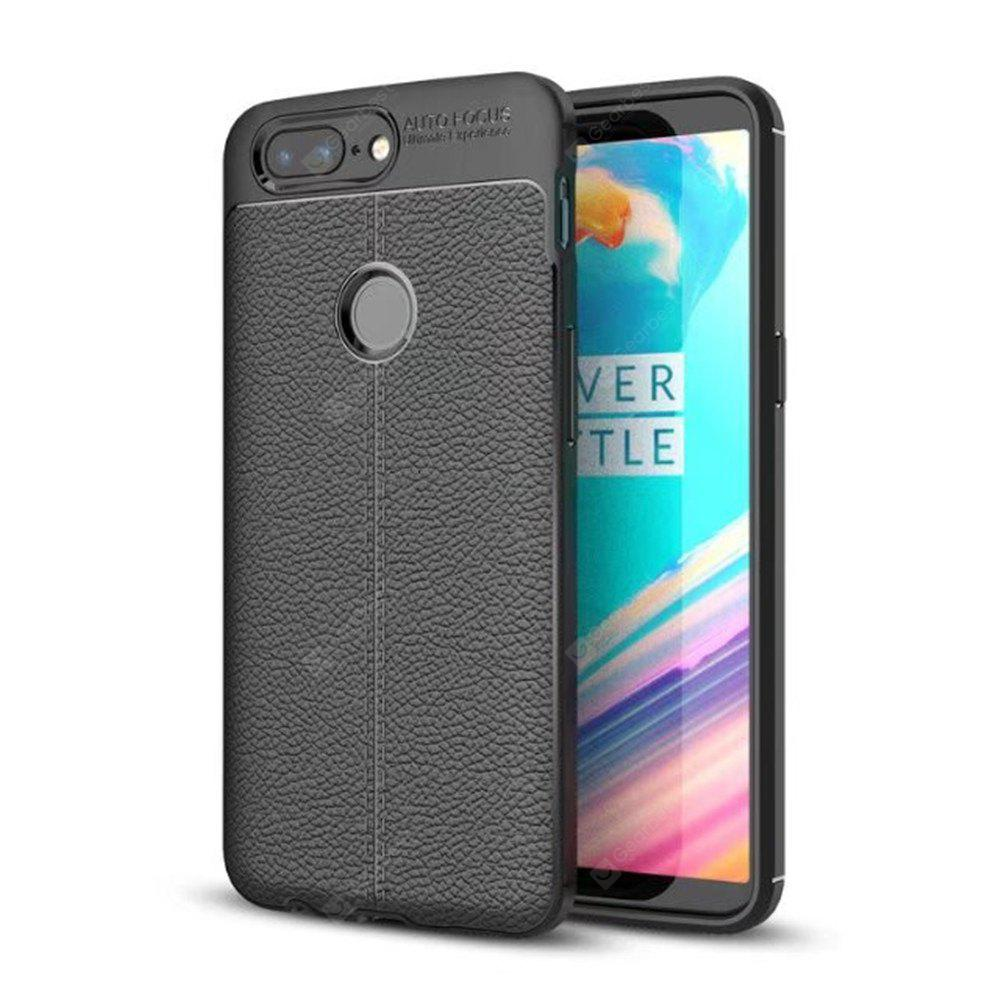 Cover Case for One Plus 5T Luxury Original Shockproof Armor Soft Leather Carbon TPU