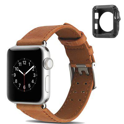 38mm Genuine Leather Watch Band Watch Bracelet for Apple Watch Series 1/2/3 + Silica Gel to Protect Shell