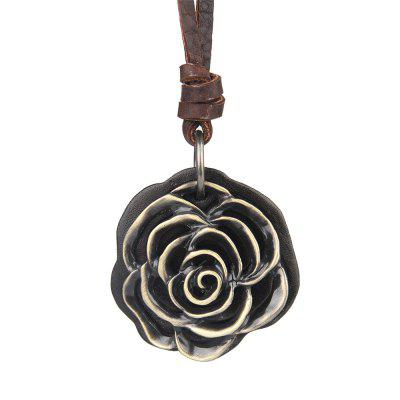 Hot Fashion Trend Rose Pendant Jewelry Necklace All-match Sweater Chain