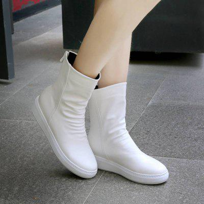 Big Size Increased Round Toe Flat Heel ShoesWomens Boots<br>Big Size Increased Round Toe Flat Heel Shoes<br><br>Boot Height: Ankle<br>Boot Type: Riding/Equestrian<br>Closure Type: Zip<br>Gender: For Women<br>Heel Type: Flat Heel<br>M233: None<br>Package Contents: 1xShoes(pair)<br>Pattern Type: Solid<br>Season: Winter<br>Toe Shape: Round Toe<br>Upper Material: PU<br>Weight: 1.0000kg