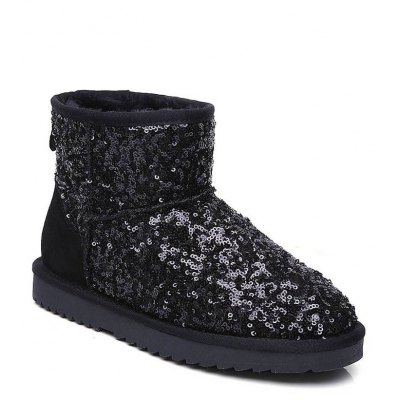 New Shoes Donna Big Size Flat Heel Round Toe Snow Boots Glitter Fashion