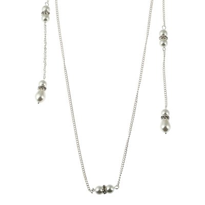 Pearl Studded with Long Pendant Back Chain Necklace