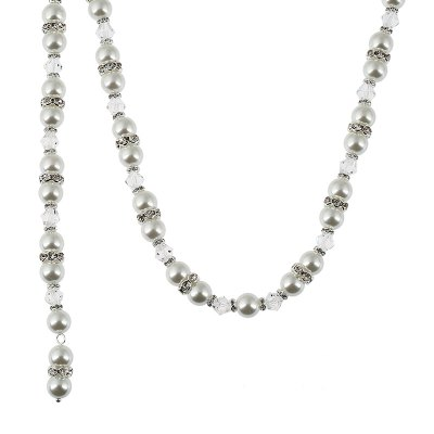 Bridal Jewelry Pearl Studded with Long Pendant Back Chain Necklace