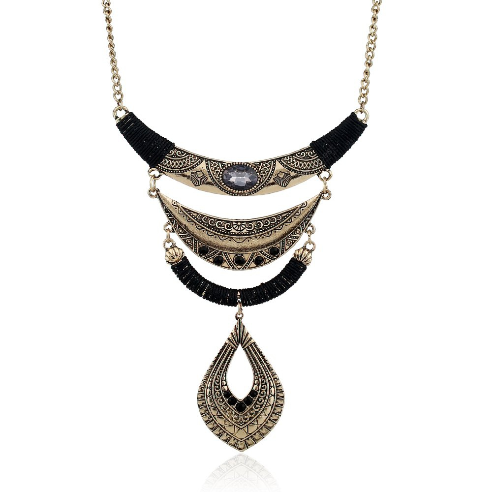 Water Drop Studded with A Long Bohemian Necklace