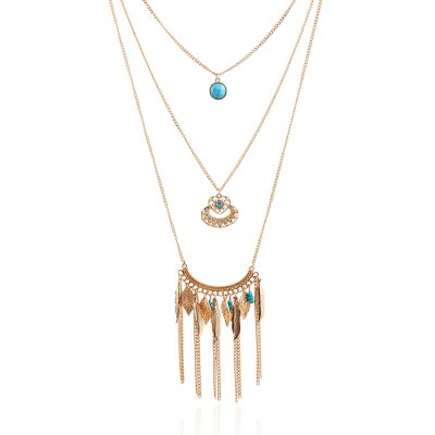 European and American Fashion Leaf Multi-Layer Long Necklace