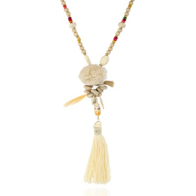 Long Loose Stone Orchid Feather Tassel Necklace