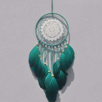 Indiano verde Dream Catcher Net con piume Folletto Dreamcatcher appeso a parete Decorazione artigianale regalo Mascotte ornamento