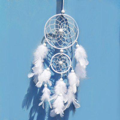 India Handmade White Dream Catcher Handmade Rattan Dreamcatcher con piume per decorazioni per pareti domestiche