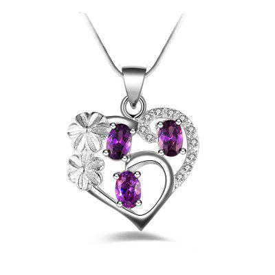 Fashion Design Natural Silver-plated Zircon Pendant Necklace Heart-shaped Jewelry