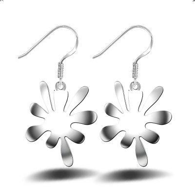 Korean Style Fashion Design Silver Plated Drop Earrings Flower Graceful Charm Jewelry